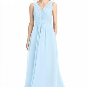 Azazie baby blue braidsmaid dress, ankle length.